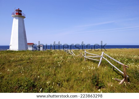 Old lighthouse in Newfoundland, Canada - stock photo