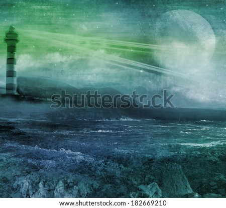old lighthouse on a rock island, grunge abstract landscape with moon - stock photo