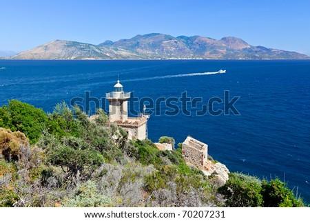Old lighthouse, Poros, Greece - stock photo