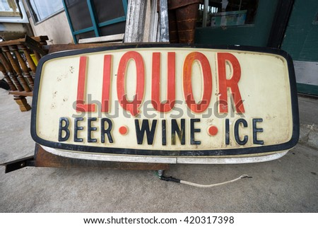 old liquor store sign