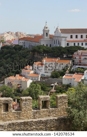 Old Lisbon city, seen from the old castle St. George - stock photo