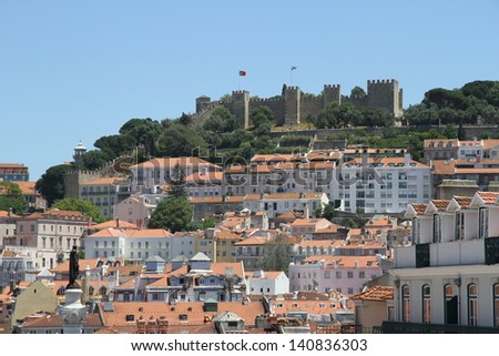 Old Lisbon with view on ancient Fortress: Castle of S�£o Jorge
