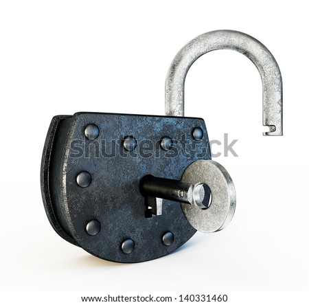 old lock isolated on a white background