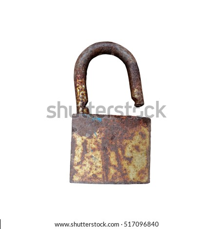 Old lock key isolated on white background