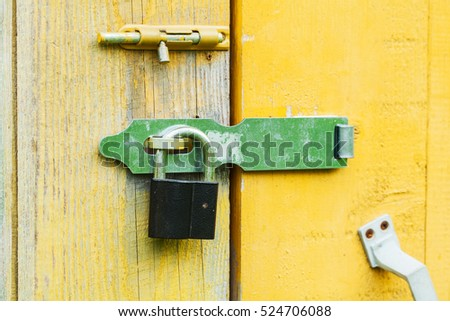 Awesome Old Lock On The Door. Lock On The Door Of An Old Farmhouse . True