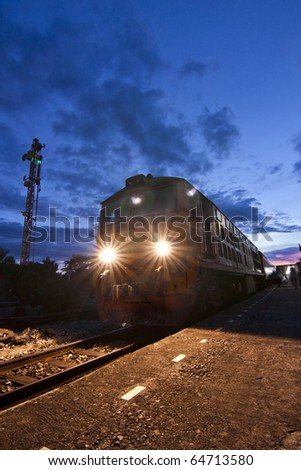Old locomotive in Thailand - stock photo