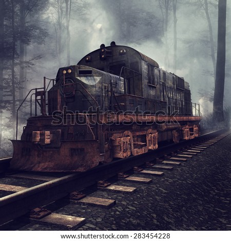 Old locomotive on the tracks in a foggy forest