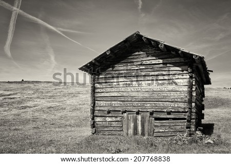 old log cabin at a meadow - stock photo