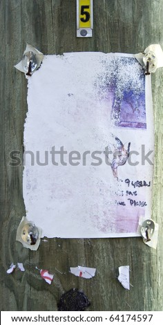 Old lost pet sign on post - stock photo