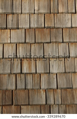 old lumber shingles roof - wooden background