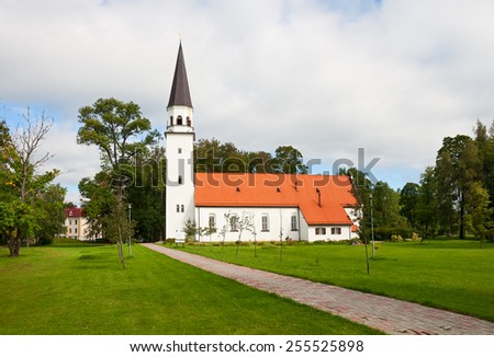 Old Lutheran Church of St. Berthold in Sigulda - stock photo