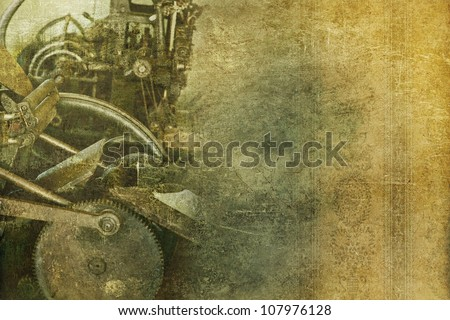Old Machinery Vintage Background. Grungy Background with Some Old Press Machine and Floral Wallpaper. Right Side Copy Space. - stock photo