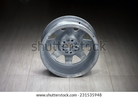 old magnesium rim of the Subaru World rally championship ( WRC ) rally car wheel - stock photo