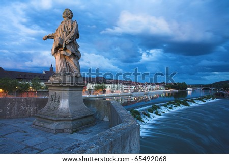 Old Main Bridge in Wurzburg - stock photo
