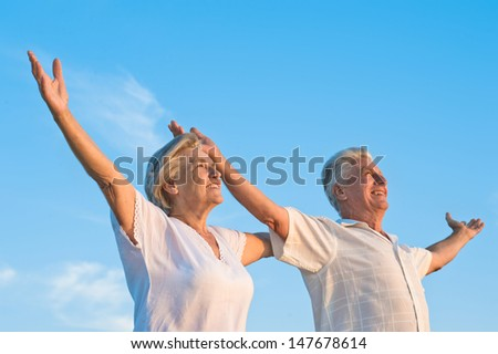 old man and the old woman resting together - stock photo