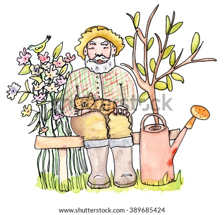 Old man gardener is siting with cat with flowers and a tree on the background - watercolor illustration - stock photo