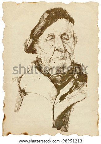 old man in a beret - drawing tough