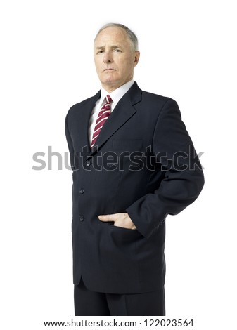 Old man in suit over the white background - stock photo