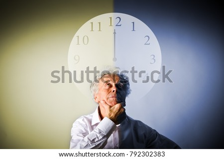 Old man in white is full of doubts and hesitation. Day and night concept. Time is passing.