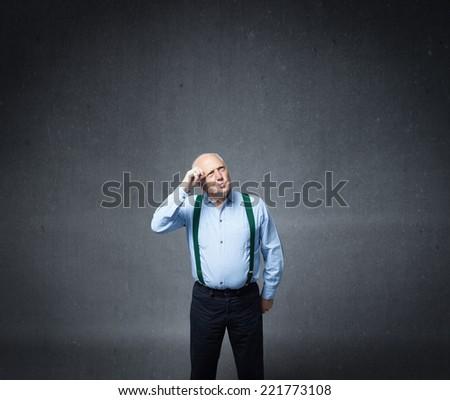 old man losing memory - stock photo