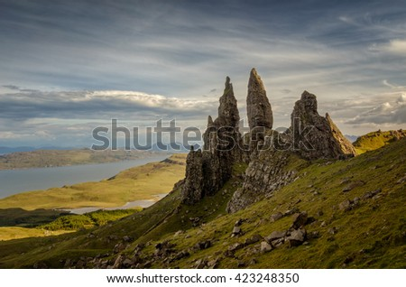 Old Man of Storr rocks with cloudy sky, Isle of Skye, Scotland - stock photo