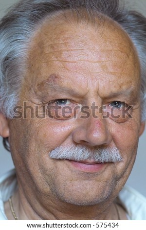 old man smiling - stock photo