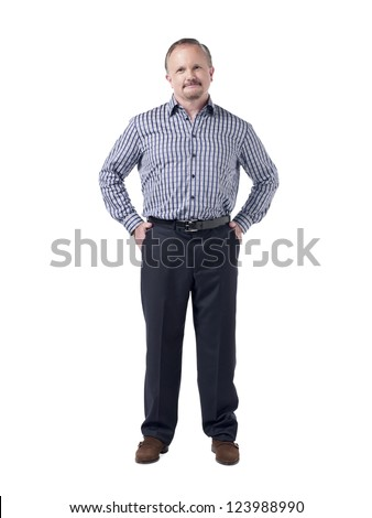 Old man standing with hands inside his pocket - stock photo