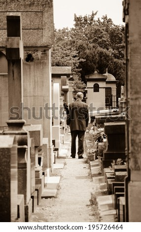 Old man walking in Montparnasse Cemetery in Paris (France). Rear view. Selective focus on the tombs and trees at the backgrounds. Aged photo.  Sepia. - stock photo
