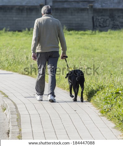 Old man walking with dog in the city - stock photo