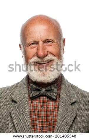 Old man with a big beard and a smile on white background