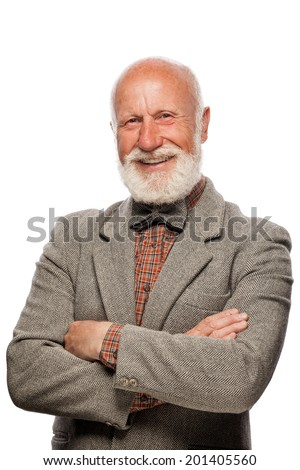 Old man with a big beard and a smile on white background - stock photo