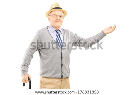 Old man with cane gesturing with hand isolated on white background - stock photo