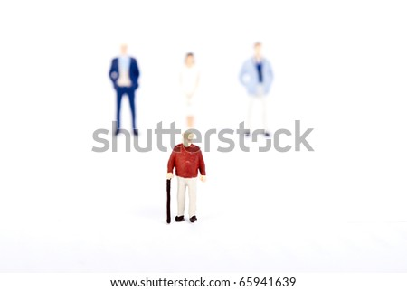 old man with his family - stock photo