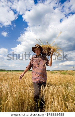 Old man with knitted basket on shoulder working in barley field - stock photo