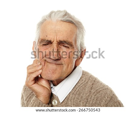 Old man with teeth ache isolated on white background
