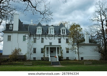 old mansion on Halloween - stock photo