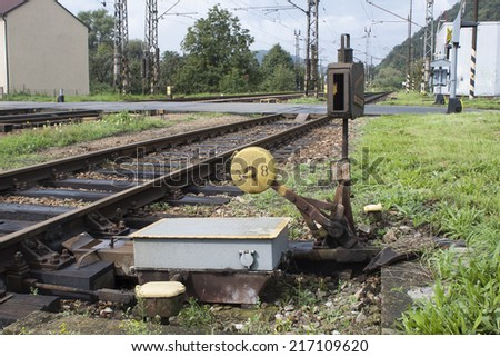 old manual railway turnout, rail transport - stock photo