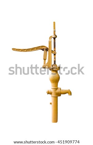 Old manual water pump (Lever Pumps) isolated on white