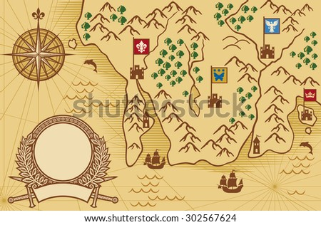 old map (ancient map, antique map) - stock photo