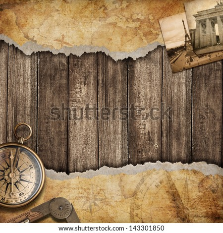 Old map background with compass. Adventure or discovery concept. - stock photo