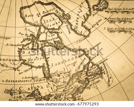 Old Map Canada Hudson Bay Stock Photo Royalty Free 677975293