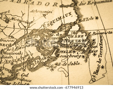Old Map Canada St Lawrence Bay Stock Photo Royalty Free - Old map of canada