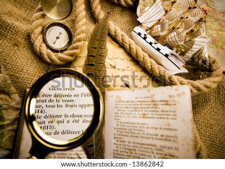 Old map & Magnifying glass & Rope - stock photo