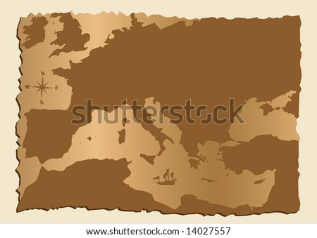 Old map of Europe with Mediterranean Sea - stock photo