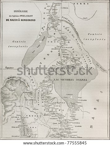 Old map of explorers Speke and Grant itinerary from Kazeh (nowadays Tabora, Tanzania) to Gondokoro (southern Sudan). Created by Erhard and Bonaparte, published on Le Tour du Monde, Paris, 1864 - stock photo