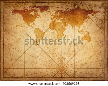Old map of the world. Elements of this Image Furnished by NASA - stock photo