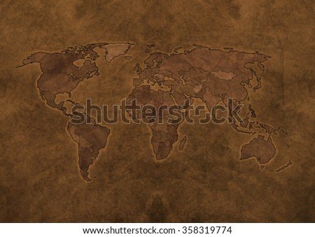 Old map of the world, in brown - stock photo