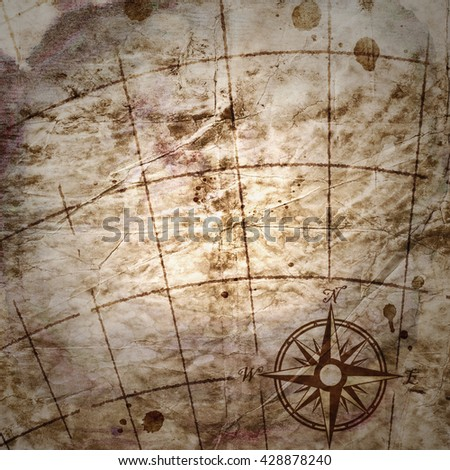 old map with a compass on it  - stock photo
