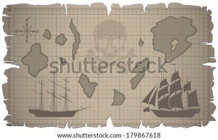 Old map with ships. Detailed raster illustration. - stock photo