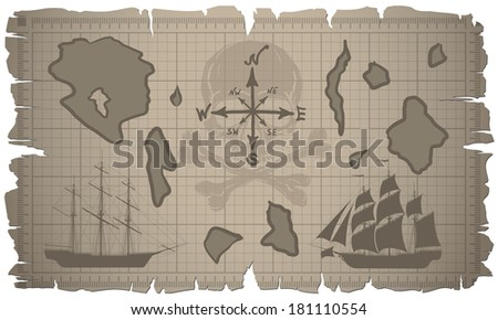 Old map with ships. Raster version of the illustration. - stock photo